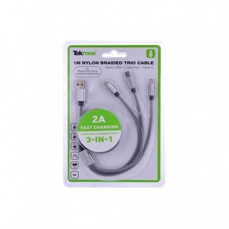 Adapter Cable 3 in 1 Lightning Type-C micro USB - Tekmee-2